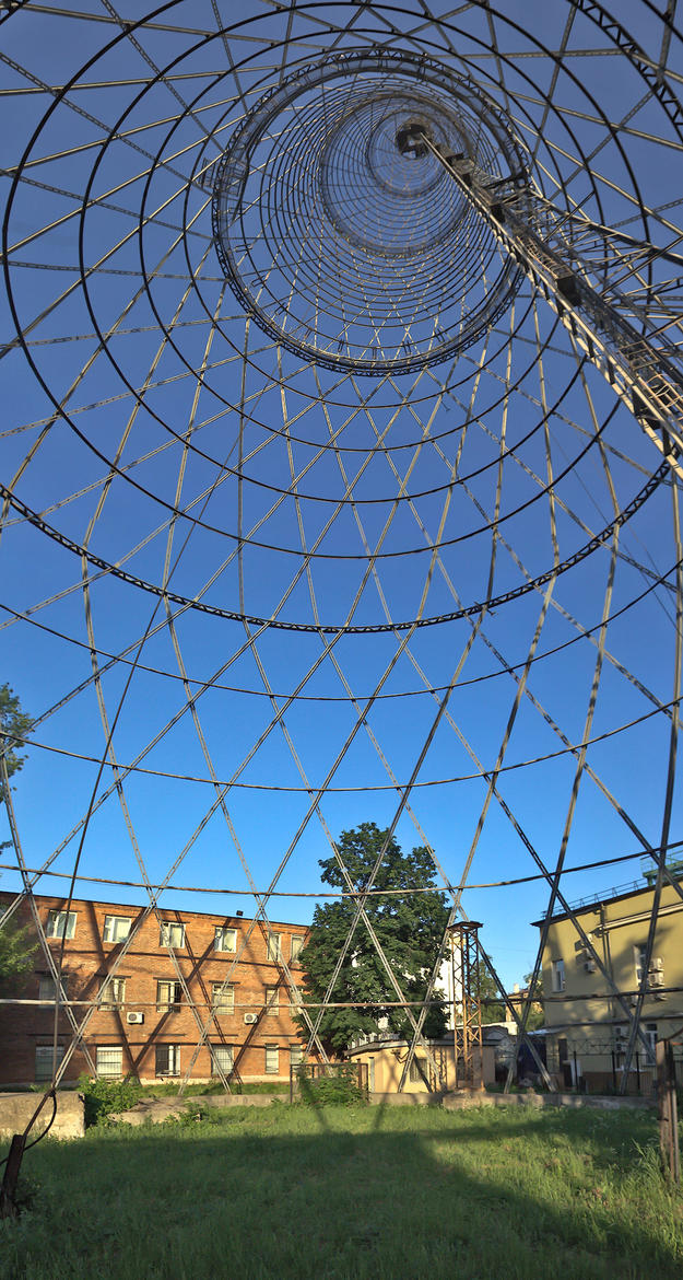 A view looking up into the lightweight hyberboloid lattice of the Shukhov Tower, 2011
