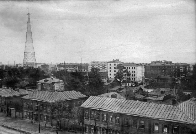 A historical view of the Shukhov Tower, a few years after its construction, 1929