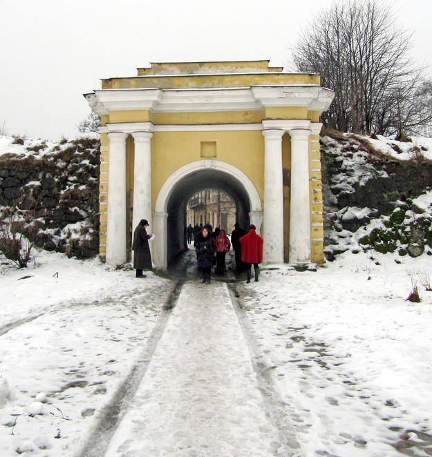 The entrance gate to the Anninskie Fortifications, built for protection in the period after Vyborg was captured by Russia in 1710, 2013