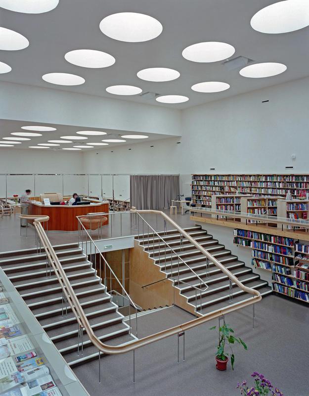 Interior of lending hall with skylights, 2014 (Photo: The Finnish Committee/Petri Neuvonen)