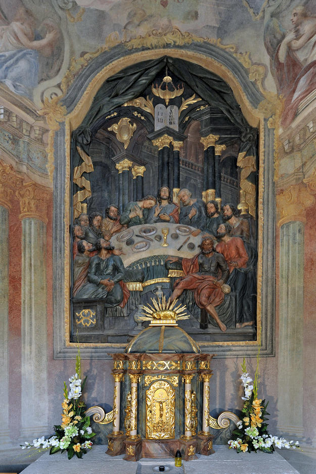 Altar of the Last Supper in the Lower Church, Chapel 5 after conservation , 2013