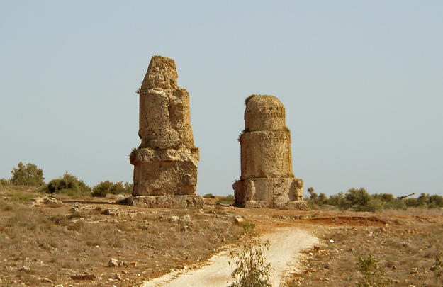 Two funerary monuments with a path leading towards them, 2004