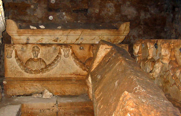 A carved Roman-Byzantine stone sarcophagi , 2003