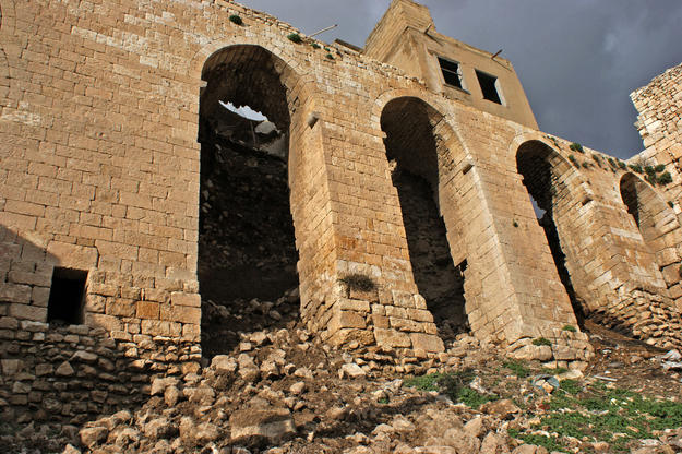 The collapsed area of the Qal'at al-Mudiq , 2010