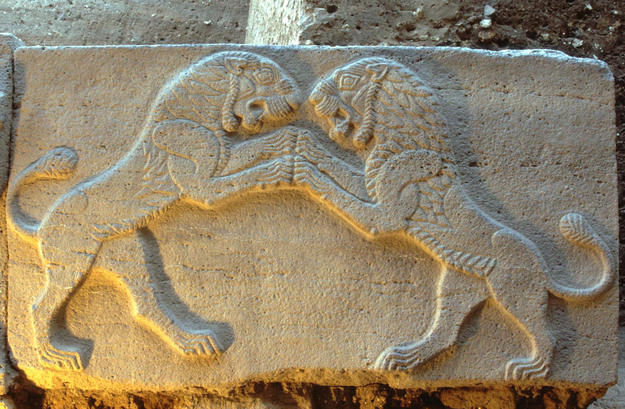 Relief of two two lions leaping upon each other, 2004