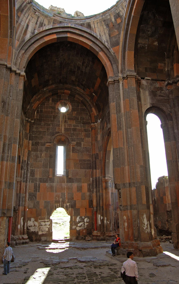 Nave columns with pointed arches and south entry wall, 2009