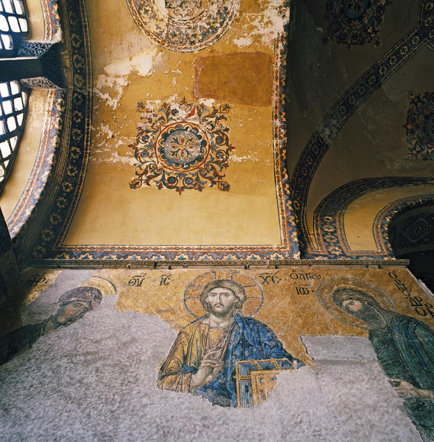 Curving walls with religious iconography, 1999