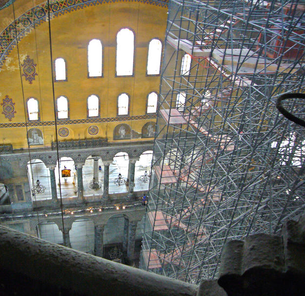 Interior during conservation with scaffolding, 2006