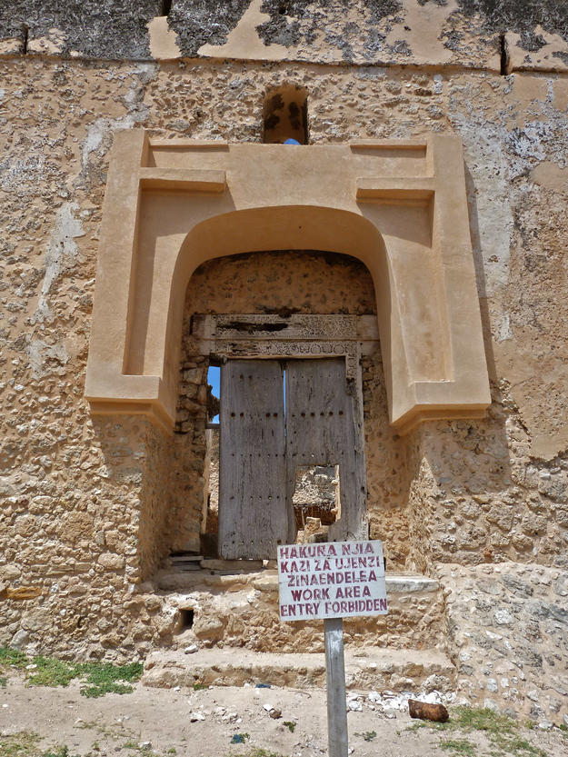 Doorway of the Portuguese fort before conservation, 2011