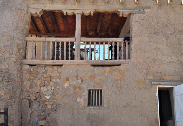 The old schoolhouse, on the upper level of the convento, with a collapse on its rear wall, 2014