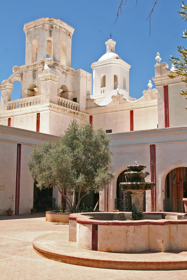 A view of the mission courtyard, looking towards the towers of the church, one of which (right) was recently restored, 2009