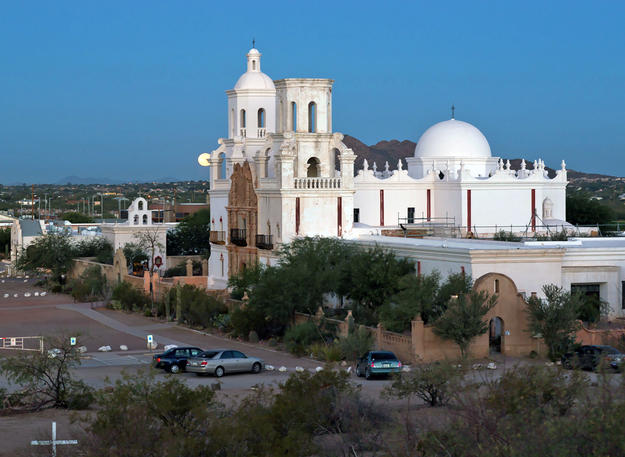 A view over Mission San Xavier del Bac and the surrounding Arizona landscape, 2008