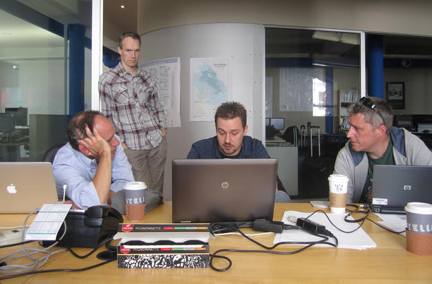 Software developers and heritage professionals review the development of the program at Farallon Geographics , 2012