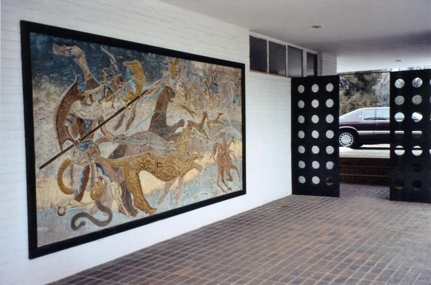 The entry courtyard with a mural by Pierre Bourdelle after conservation, 2004