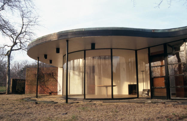 The circular glassed-in dining room after conservation, 2002