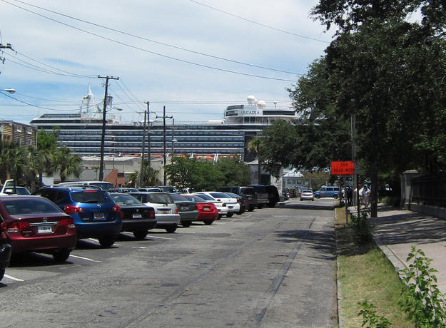 A cruise ship seen from the historic district , 2011