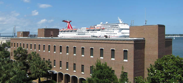 A cruise ship in the historic port community , 2011