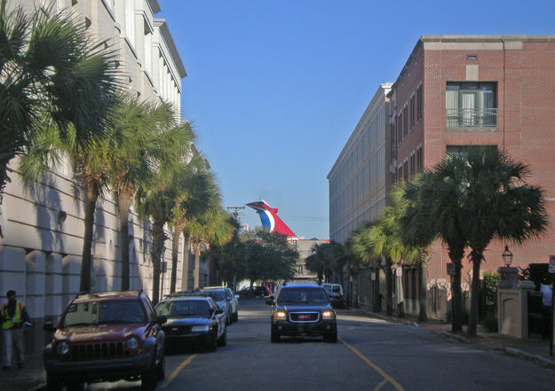 A view of a cruise ship from the historic district, 2013