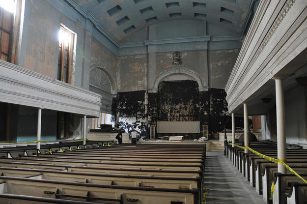 Central aisle and stage of the church, 2010