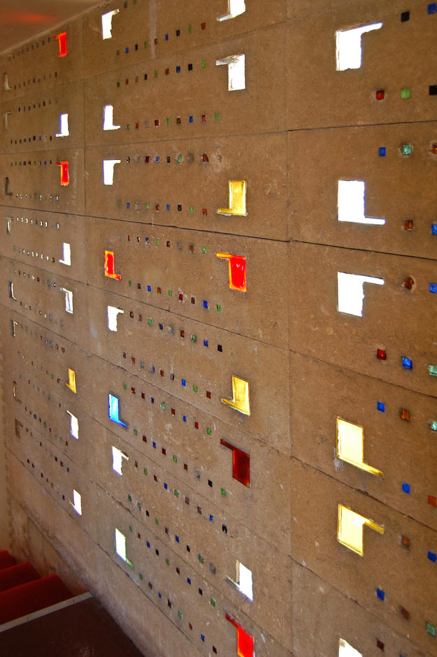 Annie Pfeiffer Chapel stairway wall with patterned colored glass, 2009