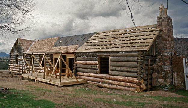 Crooks Cabin during conservation, 1995