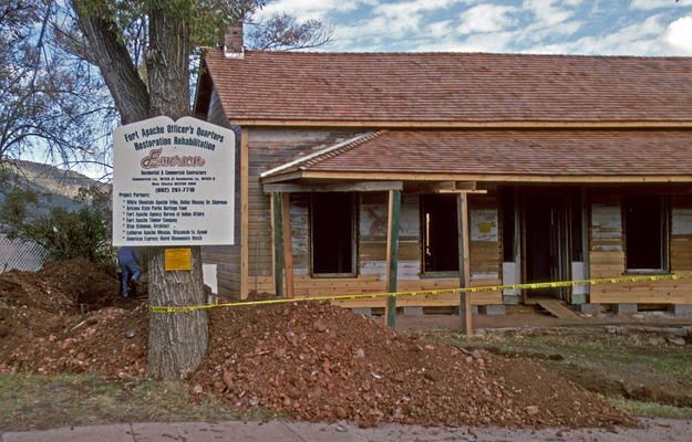 Officer's Quarters during conservation, 1998
