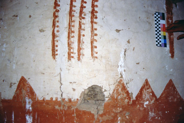 West wall of Room 121 before conservation, 1999