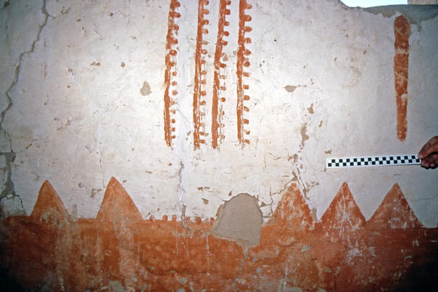 West wall of Room 121 after conservation, 1999