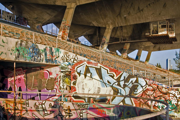 Graffiti that covers much of the reachable stadium surfaces, 2009