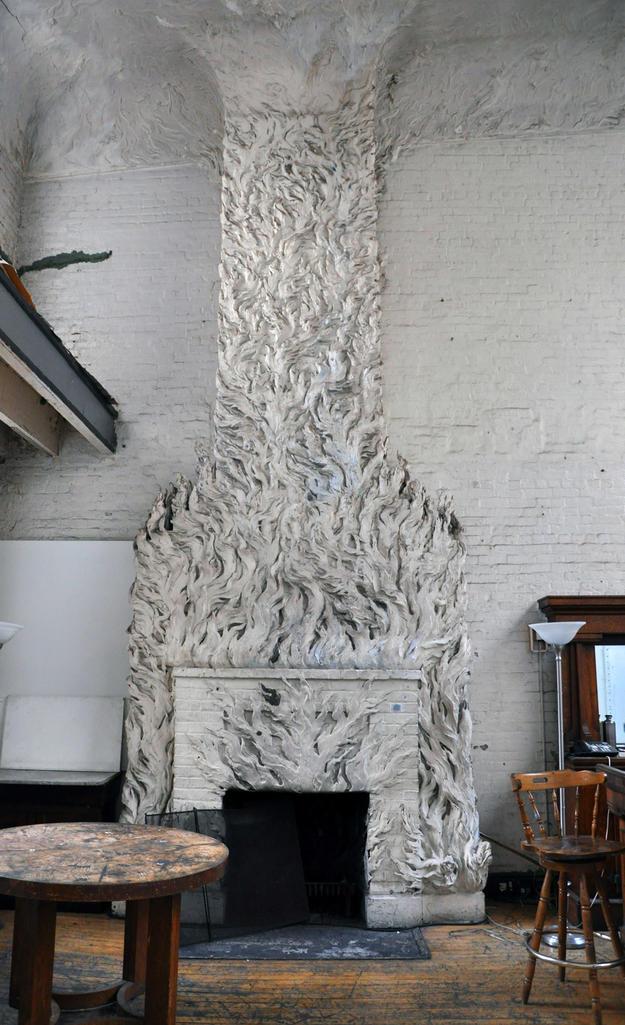 Chanler's molded plaster fireplace , 2012