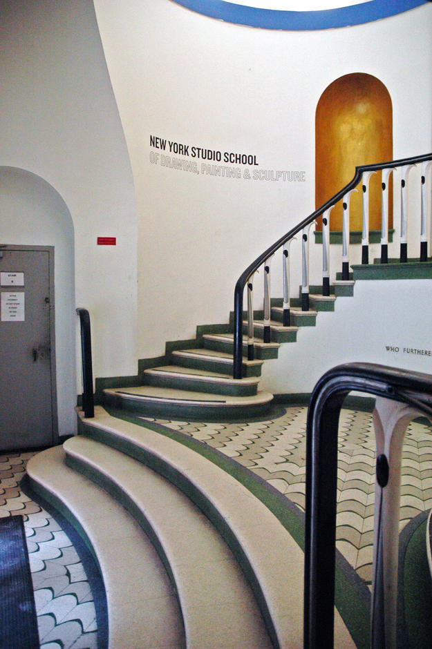 Entrance foyer featuring the original terazzo flooring and staircase, 2011