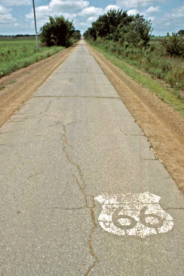 Route 66 roadbed near Miami, Oklahoma , 2001