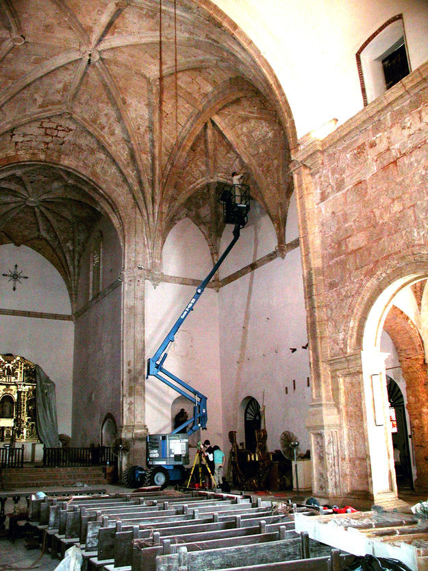 Structural inspection inside the church, 2002
