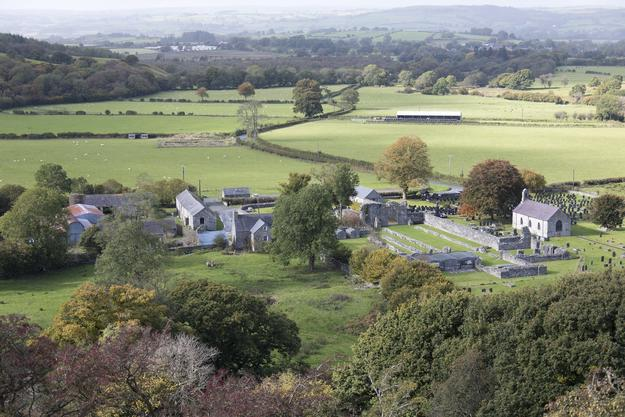 An aerial view of the Strata Florida complex.