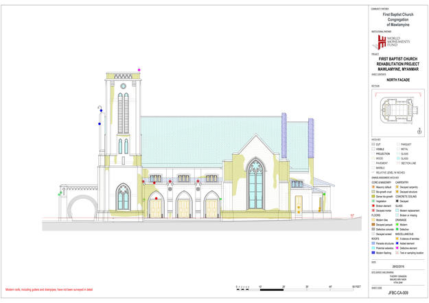 Architectural drawing of existing conditions at the First Baptist Church, 2016