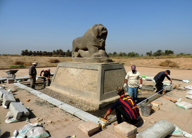 Improving the presentation of the Lion of Babylon statue, 2015