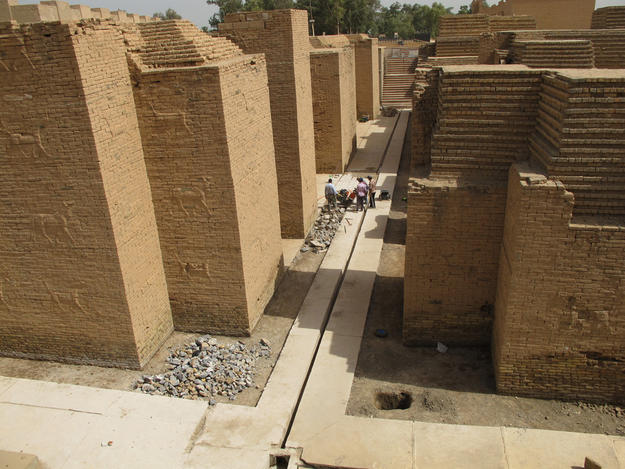 Removing modern concrete flooring to reduce groundwater moisture at the Ishtar Gate, 2013