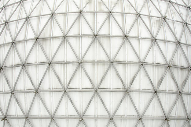 Detail of the triodetic dome structure of the Cinesphere at Ontario Place, 2014.