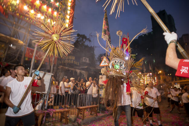 Fire dragon dance at the 2019 Mid-Autumn Festival