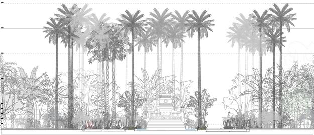 Palm reforestation surrounding the Chinese Fountain in the urban landscape proposal for the park. Drawing Credit: Burgos&Garrido Arquitectos - LLAMA architecture & urban design