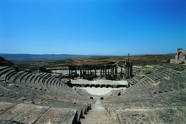 Roman theater in Dougga, Tunisia.