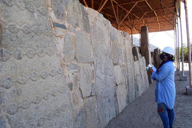 Documentation of stone slabs at Cerro Sechín (north flank).