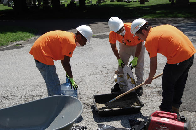 Program interns learned masonry cleaning, conservation, and maintenance, 2015