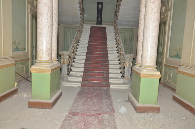 In the interior of Alexan Palace a grand stairway leads to the upper floor, 2018.