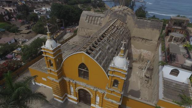 Exterior of the church before emergency conservation work, 2016