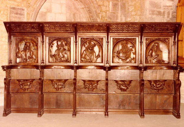 Five of the Gothic choir stalls, after restoration.
