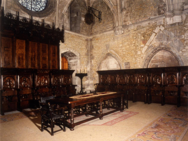 The choir stalls, installed in the capitulary hall of the cathedral.