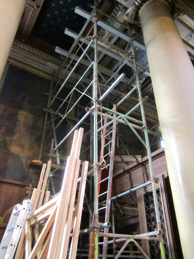 Scaffolding in western aisle before restoration, 2013.