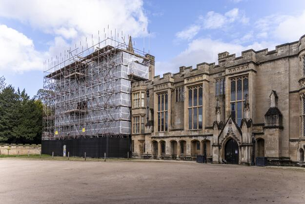 The west façade of Newstead Abbey under scaffolding, 2019, photograph by Andy Marshall