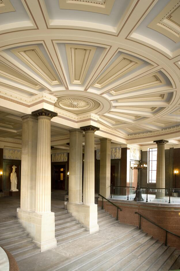 Completed redecoration in the north entrance hall staircase, St. George's Hall, Liverpool, UK, 2006